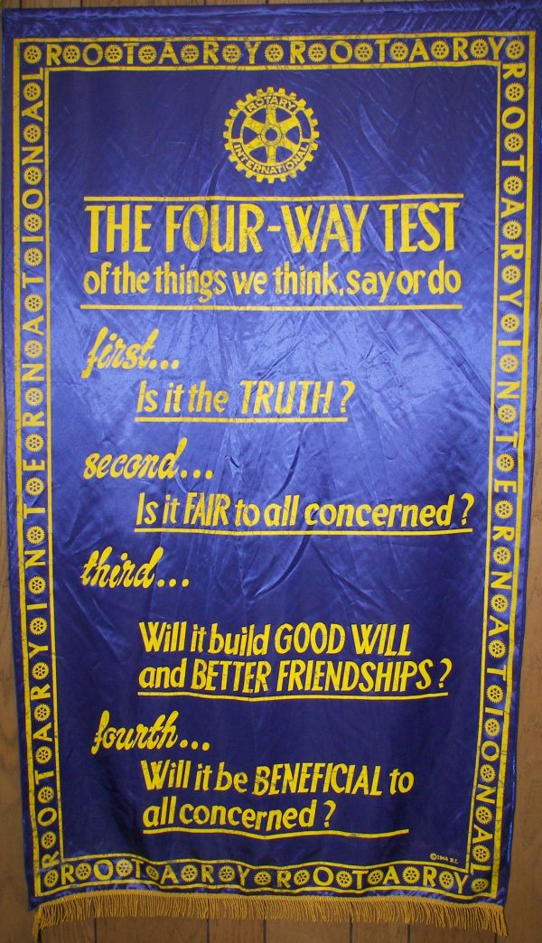4 way test essays Guiding principles the four-way test the four-way test is a nonpartisan and nonsectarian ethical guide for rotarians to use for their personal and professional.